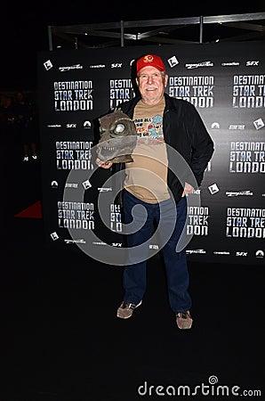 Bobby Clark på destinationen Star Trek i nolla för London hamnkvarter 19th Redaktionell Bild