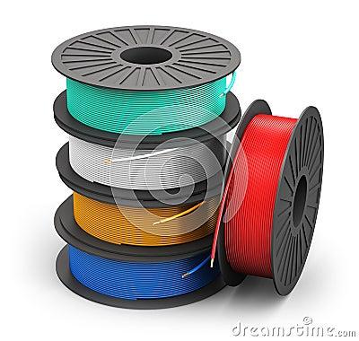 bobines avec des c bles de courant lectrique de couleur illustration stock image 44364488. Black Bedroom Furniture Sets. Home Design Ideas