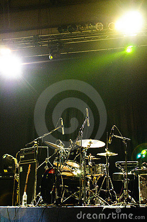 Bobobo s drum set on stage- vertical Editorial Photography