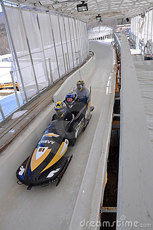 Bobsled in Lake Placid Olympic Sports Complex, USA Editorial Stock Photo