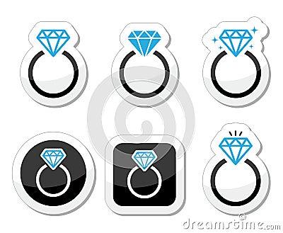 Boda, icono del anillo de compromiso del diamante