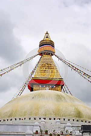 Bodhnath Stuba and Colorful religion streamer in K