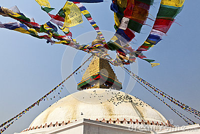 Bodhnath Stupa with prayer flags in Kathmandu - Ne