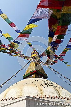 Bodhnath Stupa with prayer flags in Kathmandu - Ne