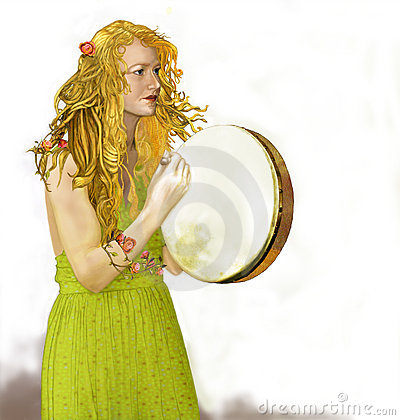 Bodhran Lady with Golden Hair