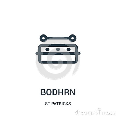bodhrn icon vector from st patricks collection. Thin line bodhrn outline icon vector illustration. Linear symbol for use on web Vector Illustration