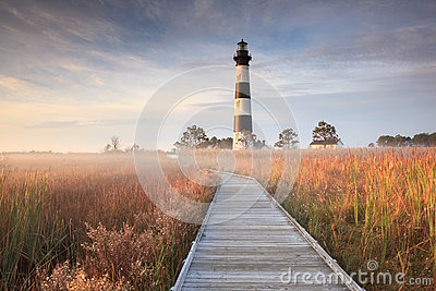 Bodie Island Lighthouse Fog Hatteras NC