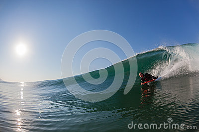 Body-Boarder Surfing Glass Wave Editorial Stock Photo