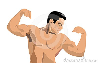 Body Builder Flexing His Muscles