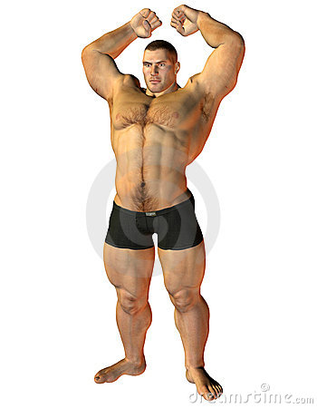Body Builder pose with muscle