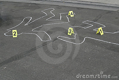 Body Chalk Outline w Number Markers