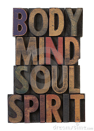 Free Body, Mind, Soul, Spirit In Old Wood Type Stock Photo - 13824800