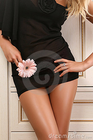 Free Body Of Attractive Woman In Black Dress Stock Photos - 7920523