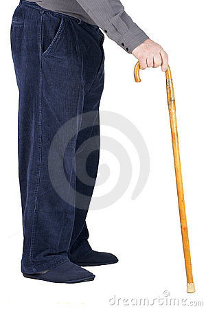 Body of senior man leaning on cane