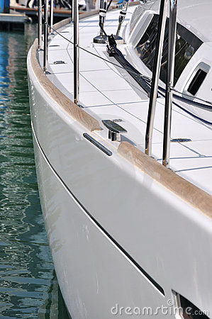Body side of yacht in harbor