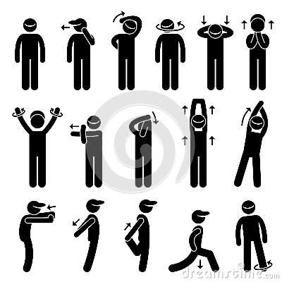 Body Stretching Exercise Stick Figure Pictogram Ic