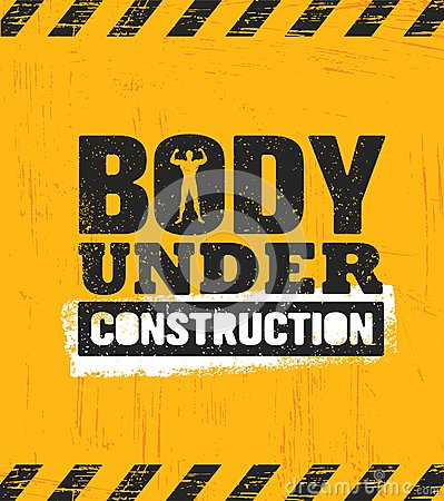 Free Body Under Construction. Workout And Fitness Gym Design Element Concept. Sport Creative Custom Vector Sign Stock Images - 122097944