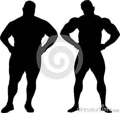 Bodybuilder and fat man