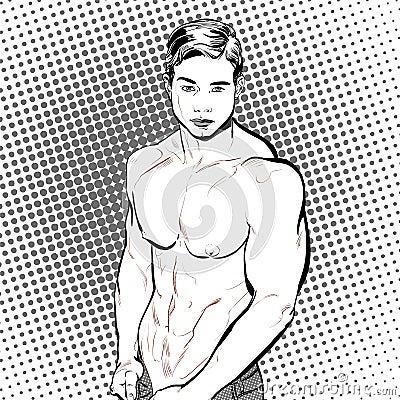 Bodybuilder Fitness Model Illustration Vector Illustration