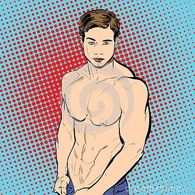 Bodybuilder Fitness Model Illustration Vector Illustration