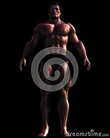 Bodybuilder masywny ilustracyjny męski