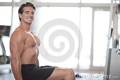 Bodybuilder smiling