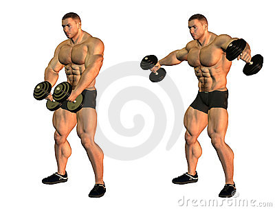 Bodybuilders with weights