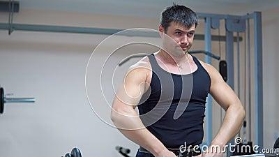 bodybuilding Barra del empuje a la barbilla almacen de video