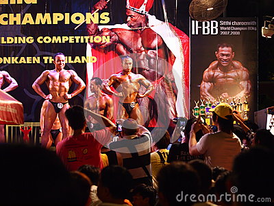 Bodybuilding competition in Khon Kaen Thailand 2013 Editorial Photography