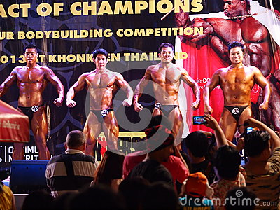 Bodybuilding competition in Khon Kaen Thailand 2013 Editorial Stock Photo