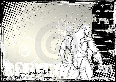 Bodybuilding sketching grunge background 2
