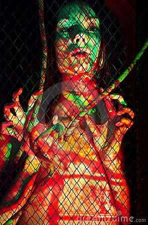BodyPaint female throught the lattice