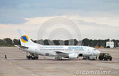 Boeing 737 jet aircraft of Aerosvit Ukrainian airlines Editorial Stock Photo
