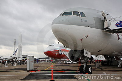 Boeing 777 and 747-8 at Paris Air Show Editorial Photo