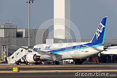 Boeing 787 som landas i nöd- Redaktionell Fotografering för Bildbyråer