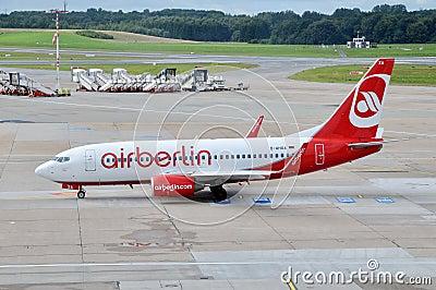 Boeing  Airberlin  in airport Hamburg Editorial Photo