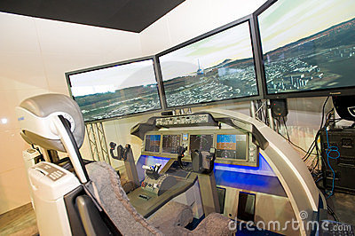 Boeing flight simulator at Singapore Airshow Editorial Stock Image