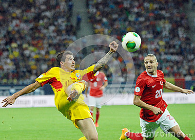 Bogdan Stancu and Caner Erkin in Romania-Turkey World Cup Qualifier Game Editorial Stock Photo