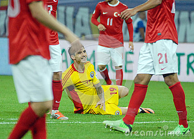 Bogdan Stancu desolated in Romania-Turkey World Cup Qualifier Game Editorial Stock Photo