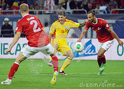 Bogdan Stancu and Omer Toprak in Romania-Turkey World Cup Qualifier Game Editorial Stock Photo