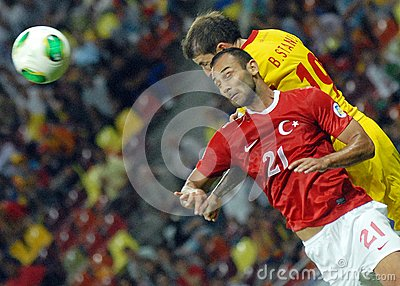 Bogdan Stancu and Omer Toprak in Romania-Turkey World Cup Qualifier Game Editorial Photo