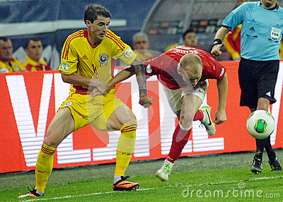 Bogdan Stancu and Semih Kaya in Romania-Turkey World Cup Qualifier Game Editorial Stock Image