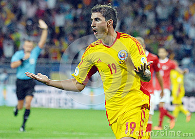 Bogdan Stancugoal celebration in Romania-Turkey World Cup Qualifier Game Editorial Image