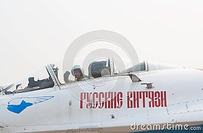 A. Bogdan in Su-27 cockpit Editorial Stock Photo
