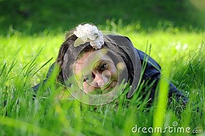 Bohemia woman in a park
