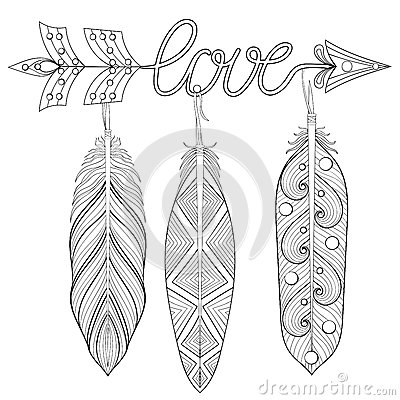 Bohemian Arrow Hand Drawn Amulet Wih Word Love And