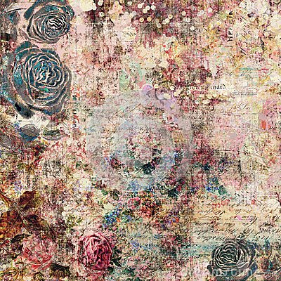 Free Bohemian Gypsy Floral Antique Vintage Grungy Shabby Chic Artistic Abstract Graphical Background With Roses Stock Image - 110352371