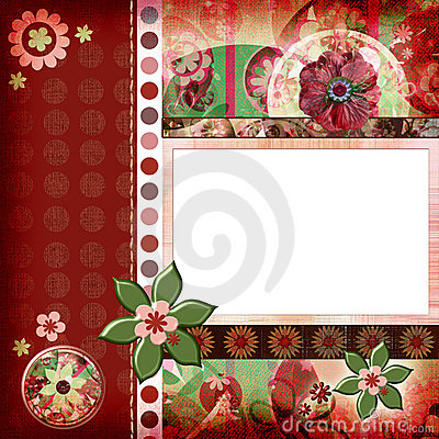 Free Bohemian Gypsy Style Scrapbook Album Page Layout 8x8 Inches Stock Photos - 844743