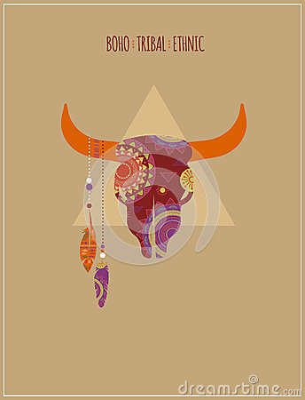 Bohemian, Tribal, Ethnic background with bull Vector Illustration