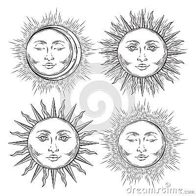 Free Boho Chic Flash Tattoo Design Hand Drawn Art Sun And Crescent Moon Set. Royalty Free Stock Image - 97470856